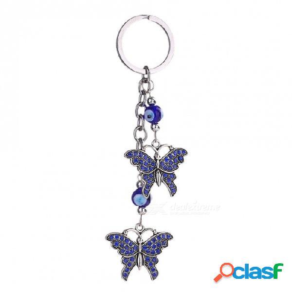 Día de san valentín nueva moda mal de ojo llaveros lindo animal cristal mariposa llavero llavero accesorios del coche