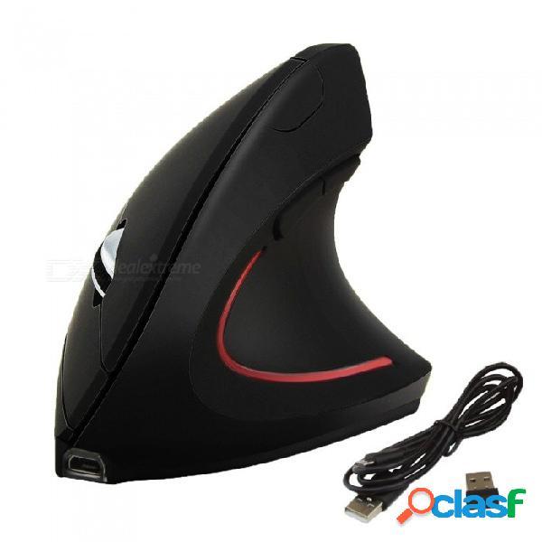 Ratón vertical ergonómico óptico inalámbrico, 800/1200/1600 dpi ratón de juego para computadora ratón para computadora portátil pc gamer negro