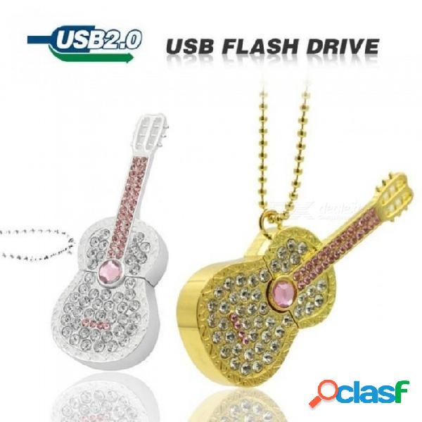 Diamond guitarra cello unidad flash usb de 64 gb 32 gb 16 gb 8 gb pen drive de memoria tarjeta de memoria flash stick stick drive de lujo u disco chica regalo plata / 8 gb