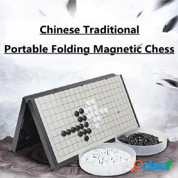 Tablero de juego de ajedrez de viaje gomoku portátil plegable baduk magnético ajedrez magnético establece partes de entretenimiento a