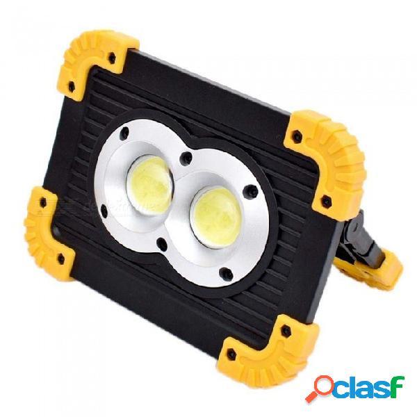 Youoklight 20w luz de trabajo led portátil, luces de emergencia led impermeables, luz de camping, foco recargable con doble puerto usb