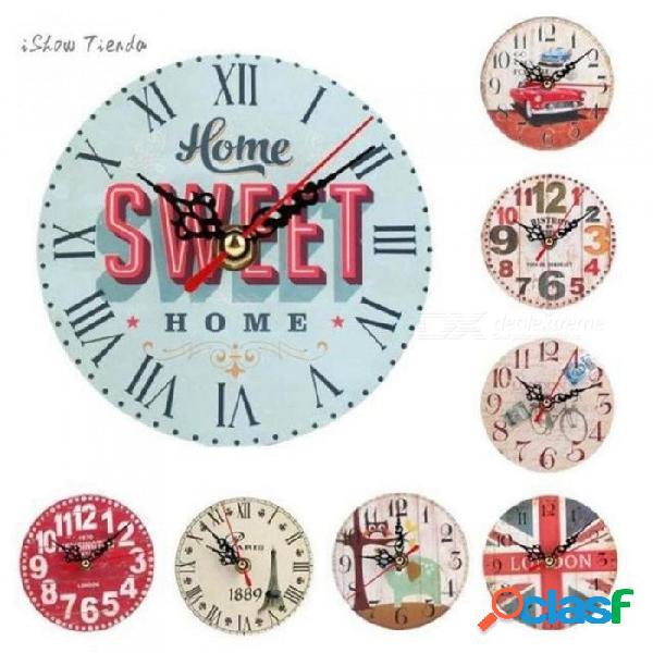 12 cm estilo vintage silencioso reloj de pared antiguo de madera alimentado por batería reloj de pared de estilo
