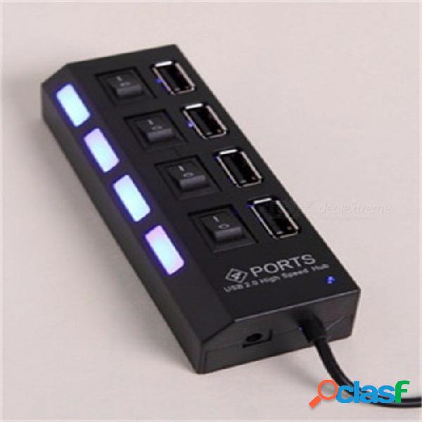 4 puertos usb hub usb cuatro puertos concentrador usb 2.0 con luz led e interruptor separado para teléfono móvil negro