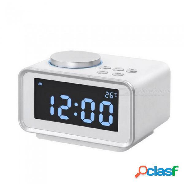 Función de despertador multifunción radio fm función de despertador termómetro interior puerto usb doble cargador lcd mesa reloj
