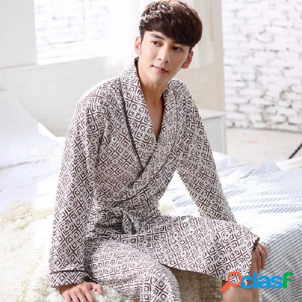 Hombres otoño 100% algodón albornoces de manga larga bata de baño suelta medio largo ropa de dormir ropa de dormir camisón pijama caffee / l