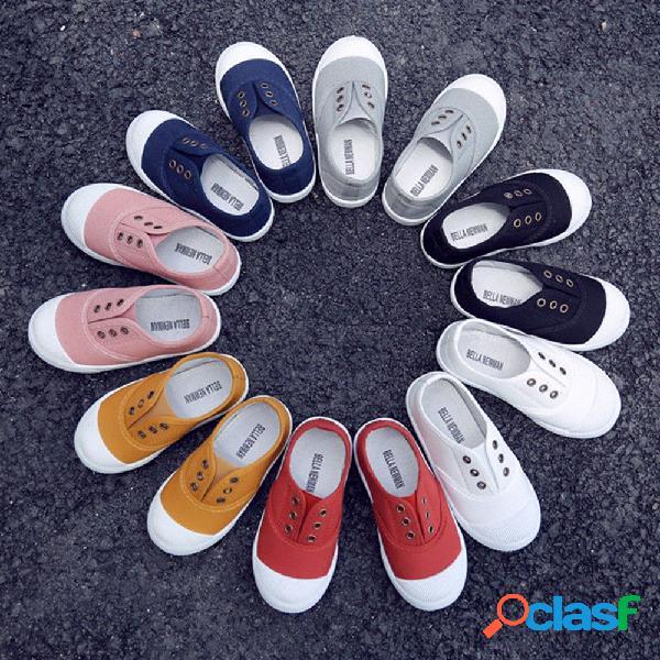 Zapatos para niños, niños, niñas, zapatos de lona bajos, de color caramelo, niños, casuales, zapatos sin cordones transpirables