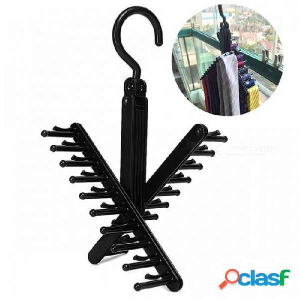 Ajustable 360 grados girando 20 corbata de lazo corbata bufanda corbata perchas de almacenamiento titular - negro