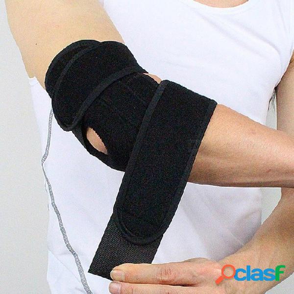 Almohadillas de soporte de codo de seguridad deportiva ajustable con protector codera de soporte de primavera para ciclista gimnasio tenis negro