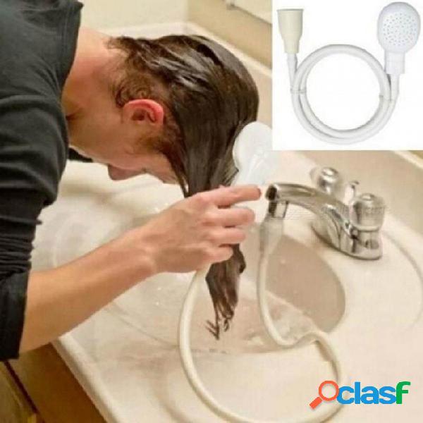 Baño grifo cabezal de ducha aerosol desagües colador manguera fregadero lavado lavado del cabello ducha material plástico blanco