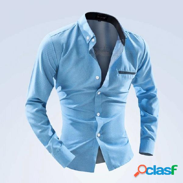 Camisa de manga larga de lunares para hombre de moda de camisa de manga larga camisa de vestir de manga larga con bolsillo de cielo azul / m