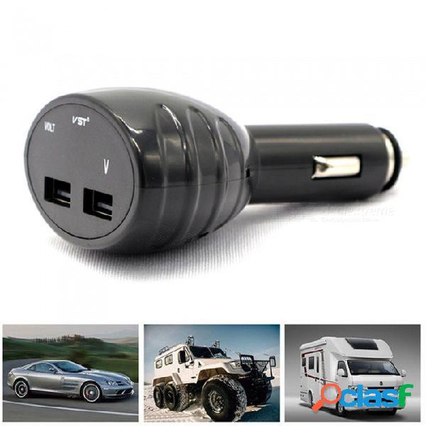 Cargador de teléfono móvil usb multifuncional para automóvil voltímetro para automóvil pantalla digital led de 12-24 v universal