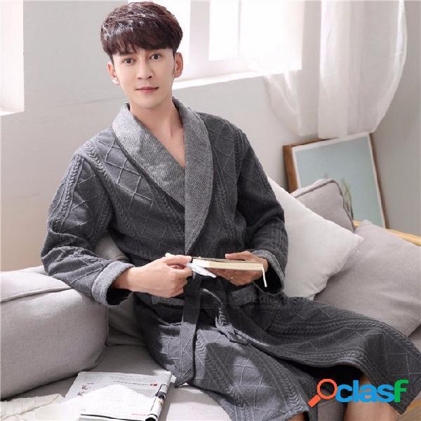 Hombres otoño invierno 100% algodón gruesa manga larga batas bata de baño flojo medio largo loungewear camisón pijama gris oscuro / m