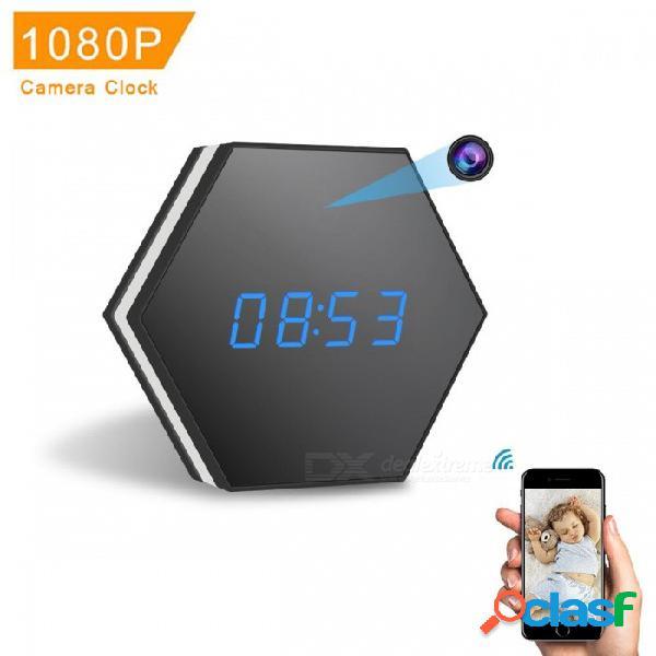 Reloj mini cámara z17 1080p con visión nocturna, audio bidireccional, detección de movimiento. colorido led de luz - negro