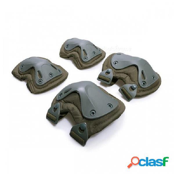Rodilleras tácticas + almohadillas de codo conjunto muñeca protector de rodilla protector de paintball entrenamiento deportivo ejercicio de fitness almohadillas protectoras