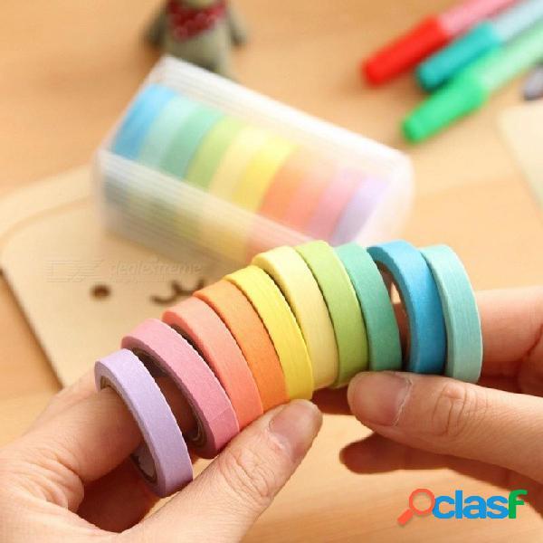 10 unids / caja arco iris de color sólido enmascaramiento japonés washi cinta de papel adhesivo impresión adhesiva diy scrapbooking deco washi cinta lote