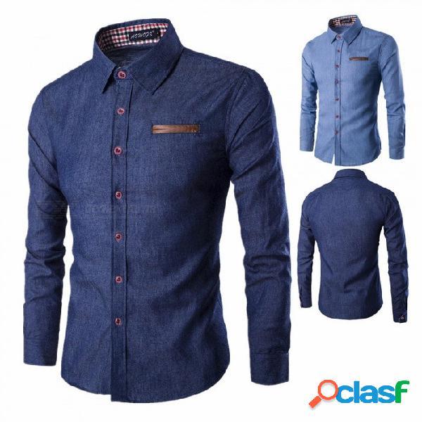 Bolsillo de la moda de costura de cuero para hombres, camisa de mezclilla de manga larga casual tops azul / m