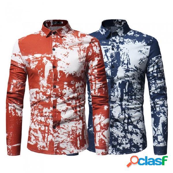 Camisa de manga larga con patrón de salpicaduras de tinta para hombre camisa casual con cuello caído camisa slim fit para hombres rojo / m