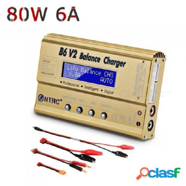 Cargador de batería lipo descargador de equilibrio htrc b6v2 80w 6a 1-6s dc11-18v para una vida útil de li-ion nic nimh lihv batería inteligente pb b6 v2