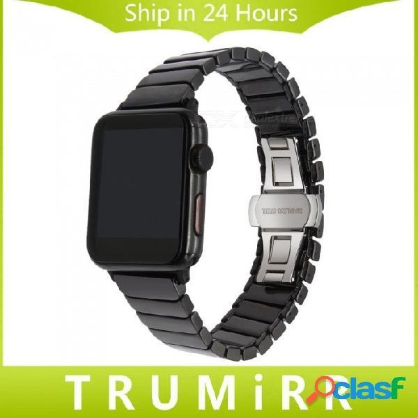 Correa de reloj de cerámica brillante + herramienta para iwatch reloj de manzana 38mm 42mm correa de eslabón de la correa correa de mariposa broche pulsera negro blanco