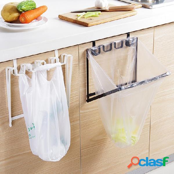 Hierro resistente plegable sobre la puerta del gabinete colgando bolsa de basura organizador de rack cocina plástico bolsa de basura titular