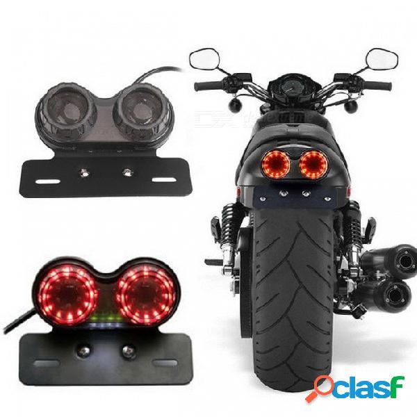 Luz duradera genérica plástica de la motocicleta de dc 12v, luz doble del led del freno de señal de vuelta, luz trasera integrada de la luz gemela negra