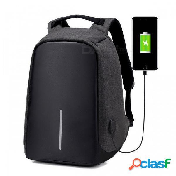 Mochila multifuncional para hombre con puerto de carga usb para adolescentes, moda ocio casual antirrobo mochila de viaje bolso negro