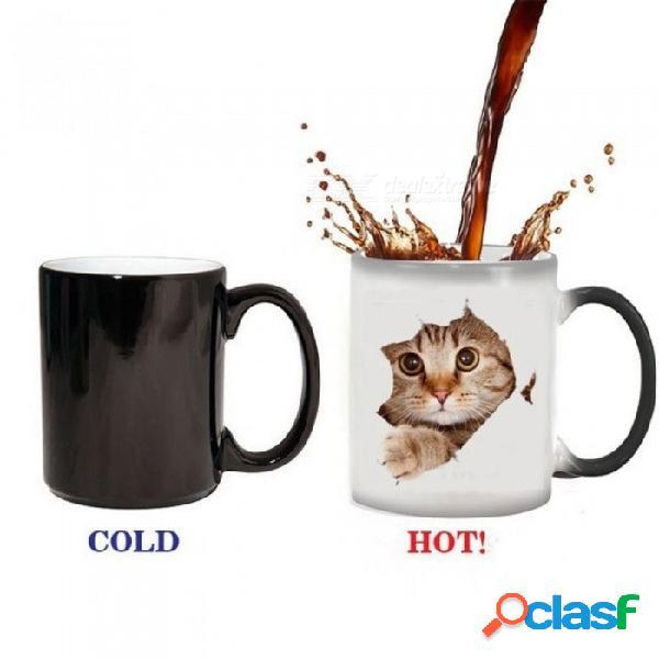 Taza linda del gato 350ml el calor revela la taza taza de té cambiante de cerámica tazas de té mágicas el mejor regalo para sus amigos 301-400ml / taza cambiante