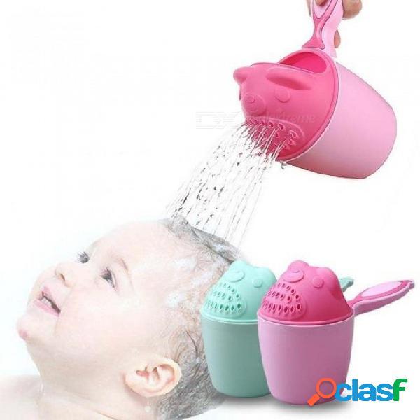 3 colores bebé niños de dibujos animados oso taza de baño bebé ducha champú taza bailer bebé ducha agua cuchara baño lavado rosa