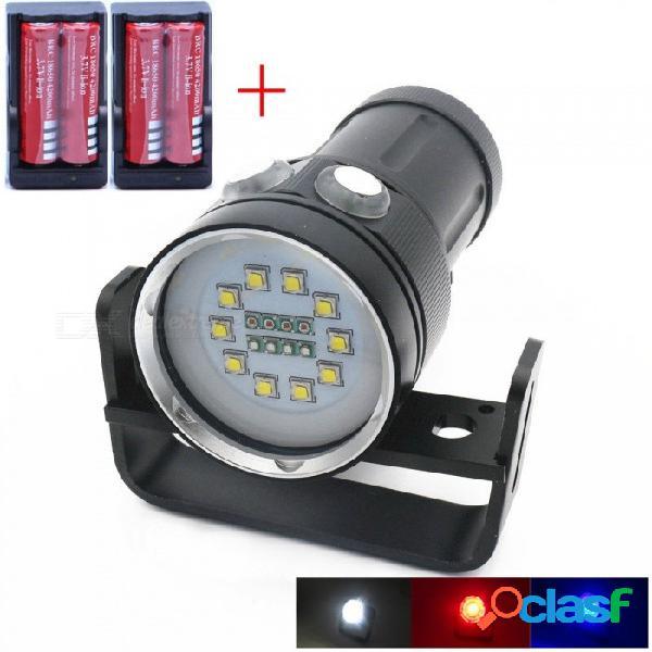 Aibber tone alta calidad profesional cree l2 led blanco rojo azul luz uv, linterna, video submarino linterna