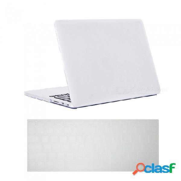 Estuche rígido de cristal ultra delgado de dayspirit + cubierta de teclado para macbook pro a1398 de 15 pulgadas con pantalla retina