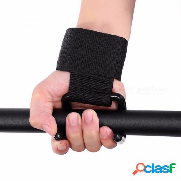 Gimnasio gimnasio antideslizante pulsera levantamiento de pesas guantes de gancho guantes de levantamiento de pesas apretón de gancho soporte para la muñeca correa de cierre de energía negro