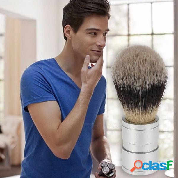 Pelo de tejón hombres cepillo de afeitar peluquería salón hombres barba facial aparato de limpieza afeitar herramienta de afeitar cepillo con mango de madera