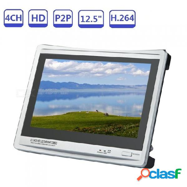 Detección de movimiento 4 canales 720/960/1080 ahd dvr inicio cctv grabadora de video vigilancia incorporada 12.5 pulgadas pantalla lcd - au plug