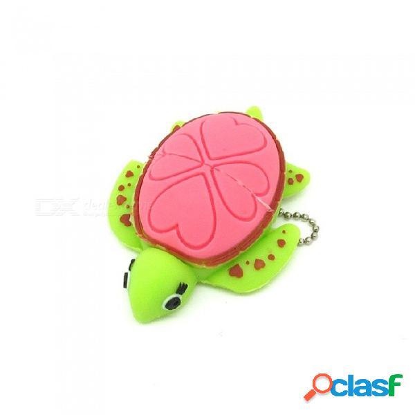 Memoria usb del estilo de la tortuga del corazón del amor de la historieta de maikou memoria usb 2.0 - rosa + verde (8 gb 16 gb 32 gb 64 gb)