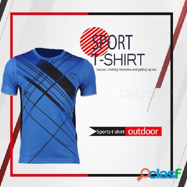 Pantalones deportivos de fitness para hombre, manga corta, compresión de secado rápido, camiseta de entrenamiento, camisetas de entrenamiento lsl133 azul / m