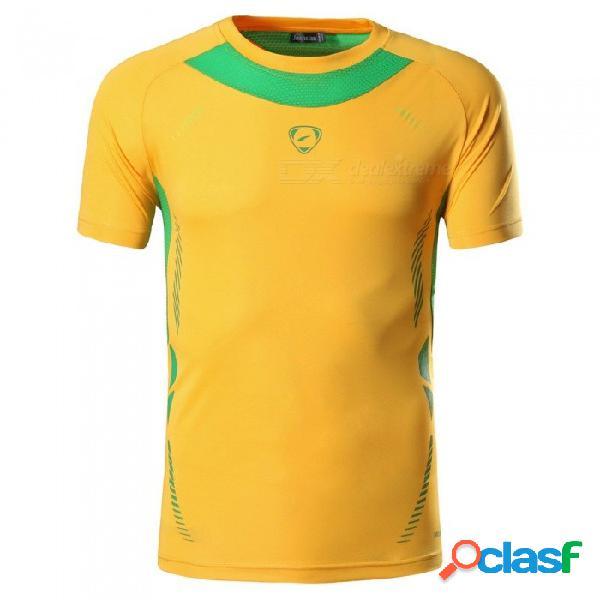 Pantalones deportivos de fitness para hombre, manga corta, compresión de secado rápido, camiseta de entrenamiento, camisetas de entrenamiento lsl322 negro / m