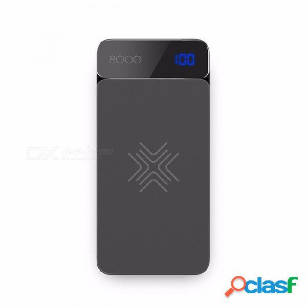 Rock qi cargador inalámbrico banco de la energía 8000mah con pantalla digital 5v 2a 5w banco de la batería externa para iphone x samsung xiaomi gris