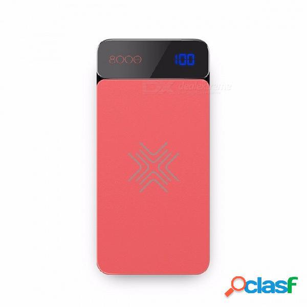 Rock qi cargador inalámbrico banco de la energía 8000mah con pantalla digital 5v 2a 5w banco de la batería externa para iphone x samsung xiaomi rojo