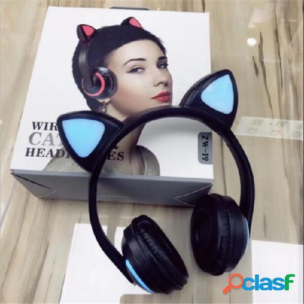 Auriculares bluetooth inalámbricos estilo orejas de gato lindo que se doblan sobre los auriculares con luz negro