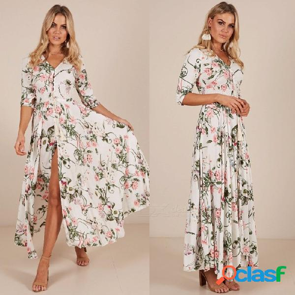 Bohemia estampado floral con cuello en v vestido de manga tres cuartos para mujer cintura alta corte hasta el tobillo vestido blanco / s