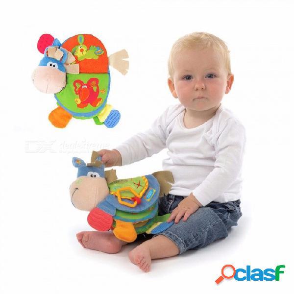 Lindo burro animal tela libros sonajeros de bebé mordedor juguetes recién nacido bebé aprendiendo libros de educación temprana regalo de los niños multicolor