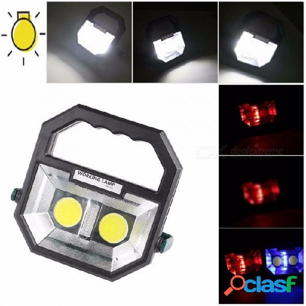 Luz de trabajo cob led de alta potencia 6 luces de advertencia de modo lámpara de ahorro de energía ambiental iluminación portátil 3w / negro
