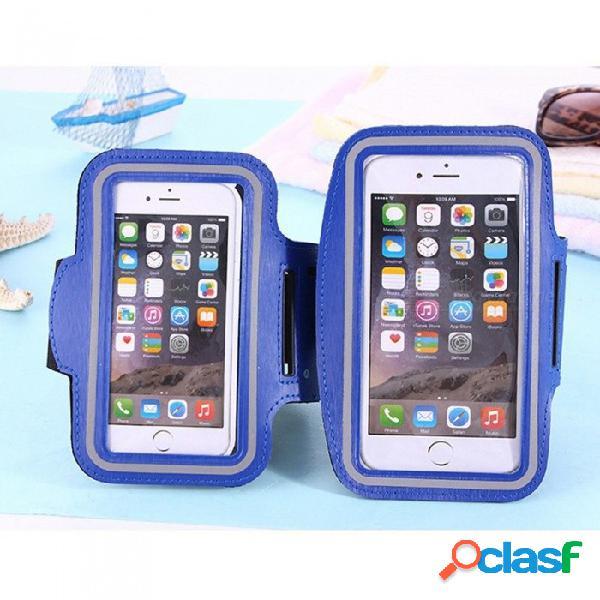 Teléfono inteligente brazalete deportivo brazalete bolsa cinturón bolsa de 5.5 pulgadas soporte para teléfono móvil bolsa de muñeca para el caso del iphone blanco