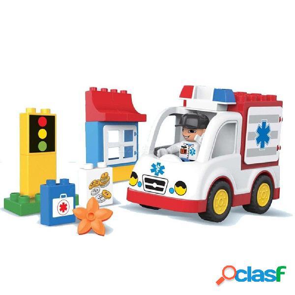 Ambulancia educativa 19 piezas de apilamiento de bloques de construcción de grandes juguetes de construcción para niños pequeños