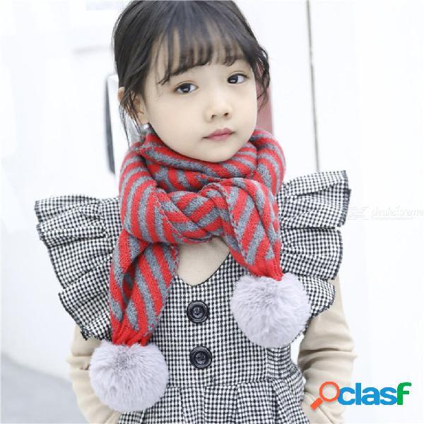 Bufanda de punto a rayas con estilo para niños con bola de pelo, calentador de cuello de algodón clásico