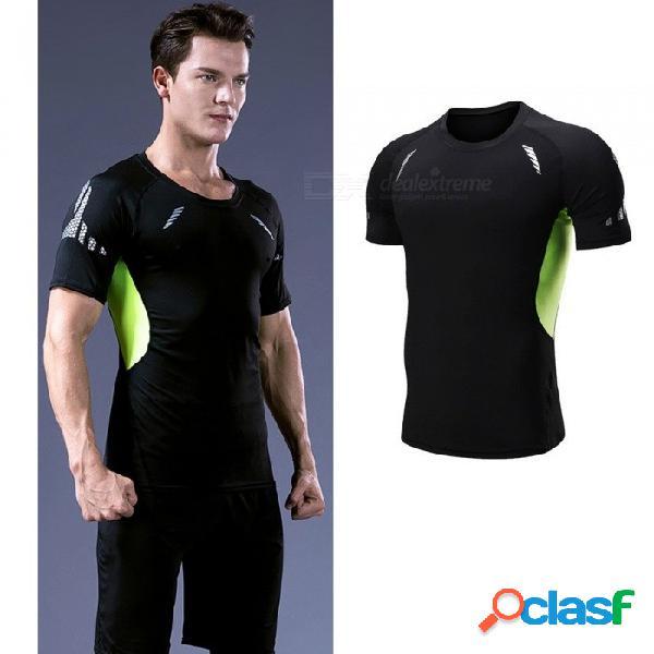 De secado rápido transpirable flaco de manga corta camisetas hombres deportes casuales de alta elasticidad ropa de fitness negro verde negro / m