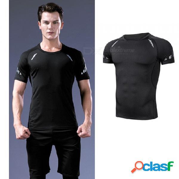 De secado rápido transpirable flaco de manga corta camisetas hombres deportes casuales de alta elasticidad fitness ropa negro neto negro / m