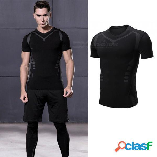 De secado rápido transpirable flaco manga corta camisetas hombres deportes casuales alta elasticidad ropa de fitness negro / m