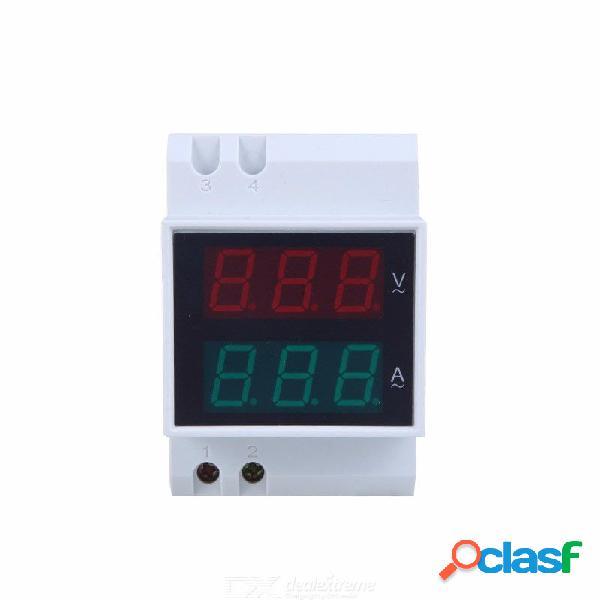 Digital din-rail led amperímetro de voltaje medidor de corriente voltímetro ac80-300v 0.2-99.9a pantalla doble