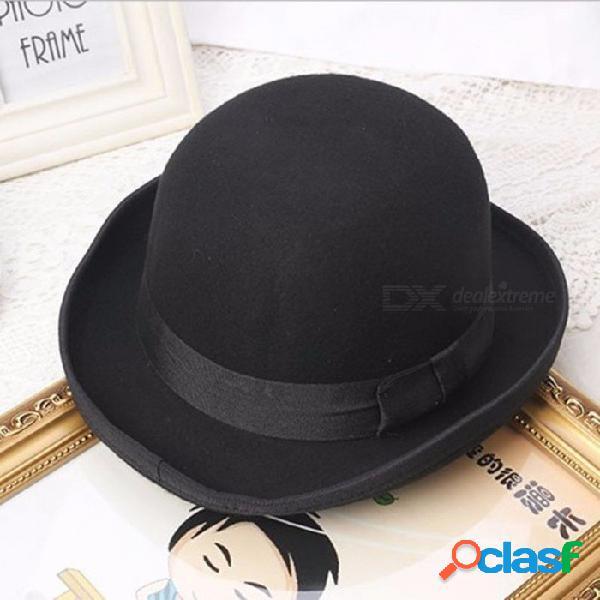 Gorro de invierno versión coreana de la gorra de lana de lana de cachemira cúpula sombrero pequeño arco negro